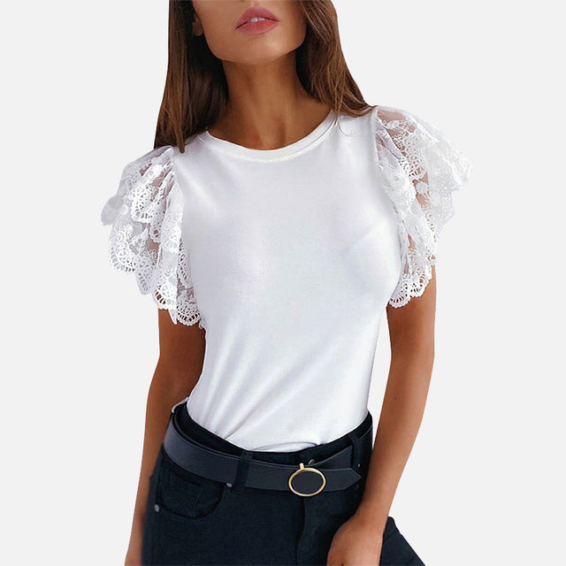 Summer Office Lady Tops Woman Black White Solid Lace Petal Short Sleeve Female Blouse - NETTEa