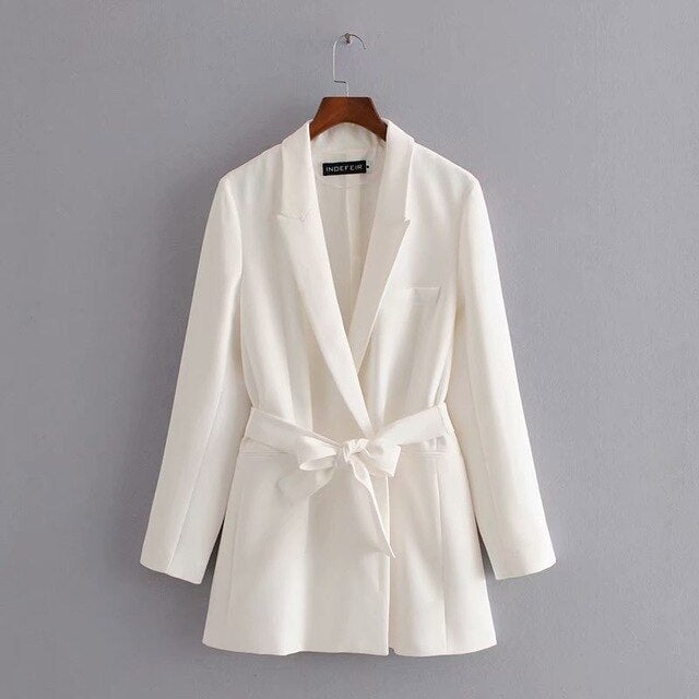 spring women long blazer notched collar belt coat - NETTEa