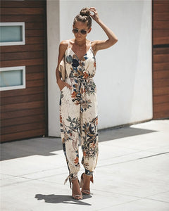 Summer Spring Women Sexy Open Back Deep V-neck Sling Cotton Long Rompers Womens Jumpsuit Drawstring Flower Women Clothes - NETTEa