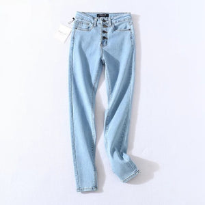 2020 Vintage Skinny Four Buttons High Waist Pencil Jeans Women Slim Fit Stretch Denim Pants Full Length Denim Tight Trousers - NETTEa