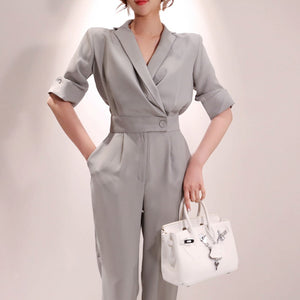 Oneimirry 2020 Summer Ladies Short Sleeve Solid Jumpsuits Suit V-neck Office Wear Casual Women Slim Fit Gray Overalls Rompers - NETTEa