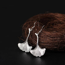 Load image into Gallery viewer, Flyleaf 925 Sterling Silver Ginkgo Leaves Long Drop Earrings For Women High Quality Fashion Lady Gift Sterling-silver-jewelry - NETTEa
