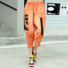 Load image into Gallery viewer, Summer New Arrivals Streetwear Hole Fashion All-match Pants Elastic Waist Jeans Zipper Letter Pritning Harem Jeans Women - NETTEa