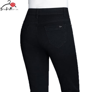 Brand Pants 2020 Scratched Straight Elastic Skinny Jeans Women Fashion Womens Clothing Jeans Full Length Pants Plus Size - NETTEa