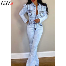 Load image into Gallery viewer, Casual Denim Jumpsuit Winter Women Slim Jumpsuit Full Sleeve Denim Flare Jeans Jumpsuit Sexy Night Club Party One Piece Bandage - NETTEa