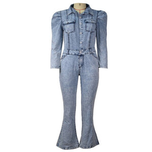 Casual Denim Jumpsuit Winter Women Slim Jumpsuit Full Sleeve Denim Flare Jeans Jumpsuit Sexy Night Club Party One Piece Bandage - NETTEa