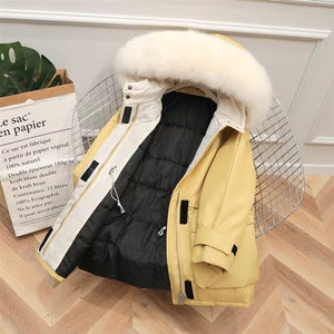 Large Natural Raccoon Fox Fur Hooded Winter Down Coat Women 90% White Duck Down Jacket Thick Warm Parkas Female Outerwear - NETTEa