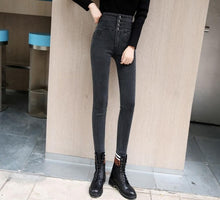 Load image into Gallery viewer, streetwear High Waist thickening skinny denim pants women plus size warm stretch Pencil jeans Mom's slim waist velvet jeans - NETTEa