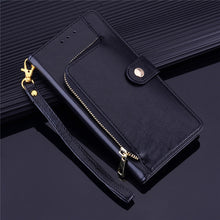 Load image into Gallery viewer, YXAYN Zipper Leather Flip Case Wallet Card Holder Coque for iPhone Xs Xr X 12 Mini 11 pro Max 8 7 Plus Case - NETTEa