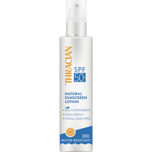 Thracian Natural (Bio Ingredients) Sunscreen Lotion SPF50+ with a Pump, Hypoallergenic, Non-greasy, Sunblock for All Skin Types, with Vitamins A & E, Cocoa Butter, No Chemicals, 200 ml, 6.8 Fl Oz front