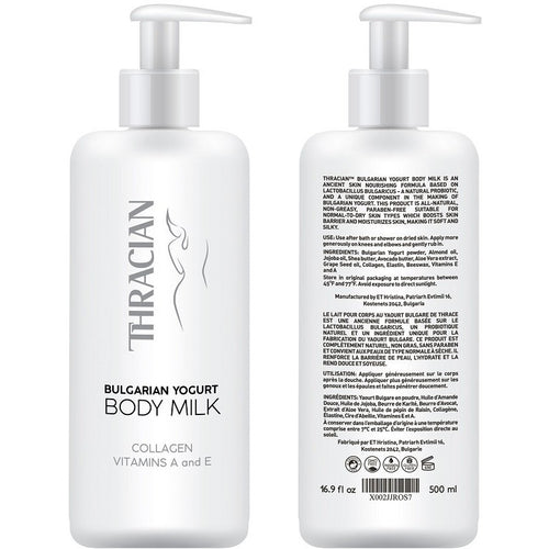 Thracian Bulgarian Yogurt Natural Moisturizing Body Milk with Essential Oils, Collagen, Vitamins E & A, Extra Soothing Lotion for Sensitive and Dry Skin, Non-Greasy Paraben-Free, 500 ml, 16.9 Fl Oz