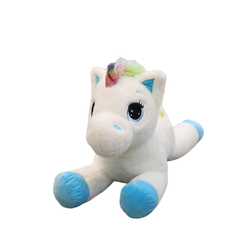 Peluche licorne queue multicolore bleu