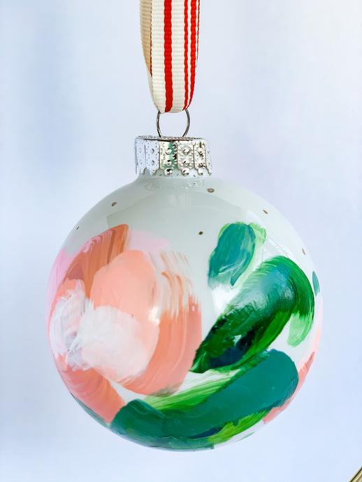 Holiday in Pink- Hand Painted Glass Ornament