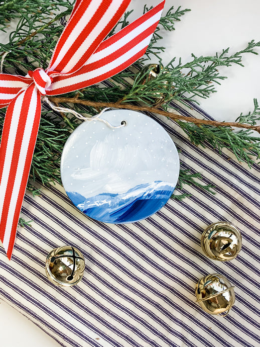 Winter Wave- Hand Painted Plaster Ornament