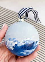 Load image into Gallery viewer, Snowy Ocean- Hand Painted Bisque Ornament