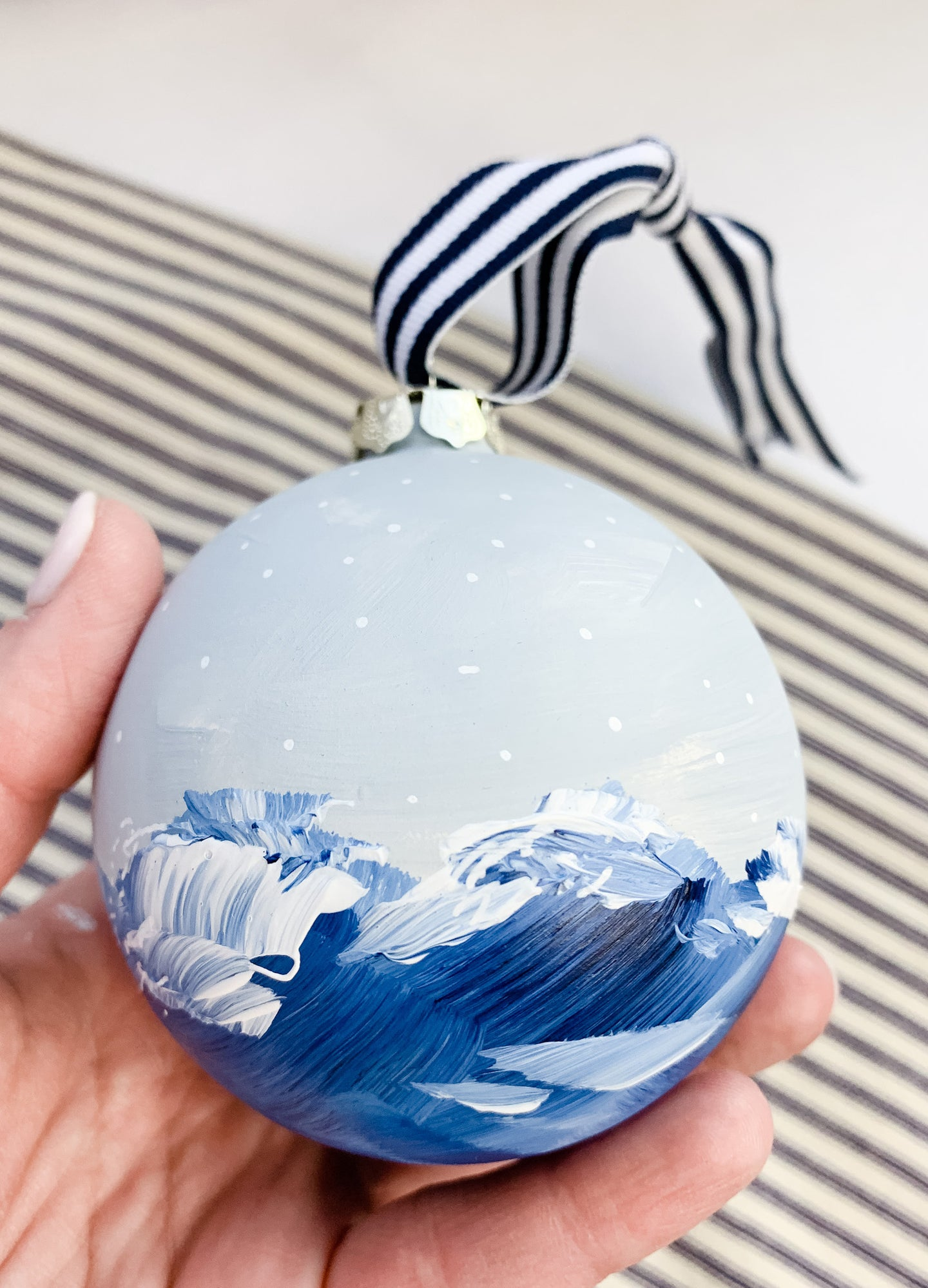 Snowy Ocean- Hand Painted Bisque Ornament