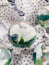 Load image into Gallery viewer, Set of 4 Snow Flower, Small- Hand Painted Glass Ornament