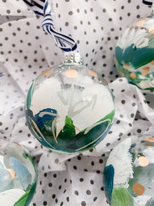 Set of 4 Snow Flower, Small- Hand Painted Glass Ornament