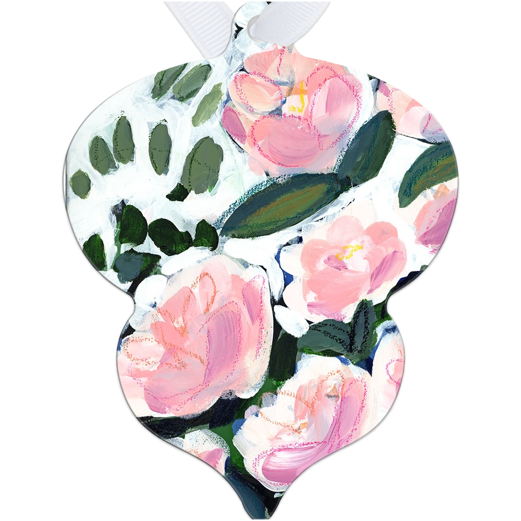 Pink Blooms and Eucalyptus Tree Ornament