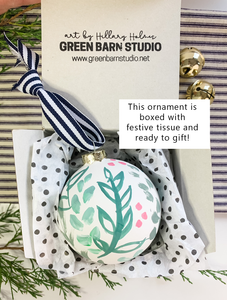 Winter Marsh- Hand Painted Bisque Ornament