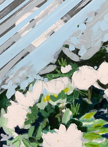 Abstract White Flowers with Blue and Green