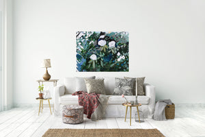 Abstract Floral, White Flowers on Black