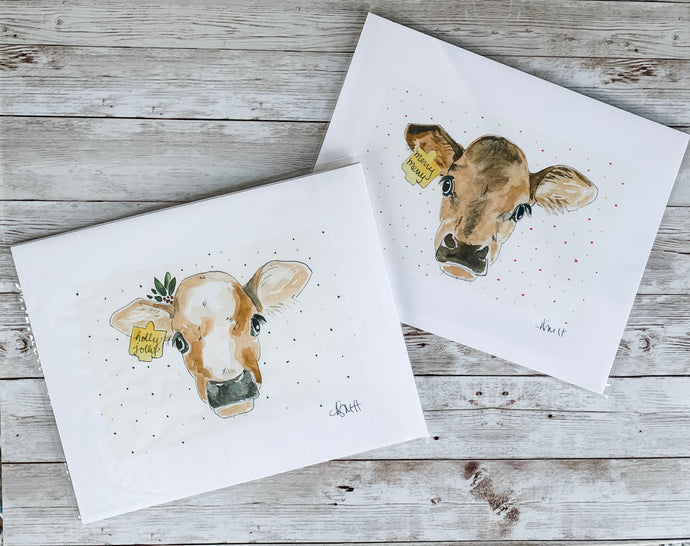 Pair of Christmas Cows