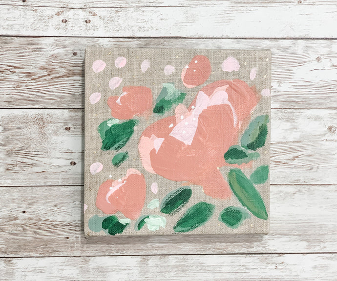 Blush Floral on raw linen canvas