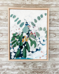 White Flower and Eucalyptus Painting