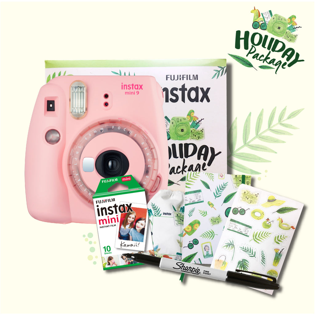 Fujifilm Instax Mini 9 Instant Camera (Holiday Package - Clear Pink)-Instant Camera-futuromic