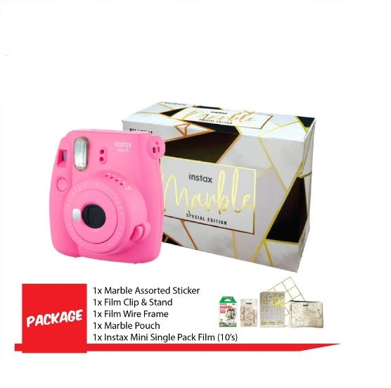 Fujifilm Instax Mini 9 Instant Camera ( Marble Package-Flamingo Pink )-Instant Camera-futuromic