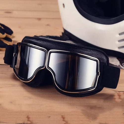 Retro Motorbike Motocross Horse Riding Black Leather UV Protected Goggles - Free Shipping