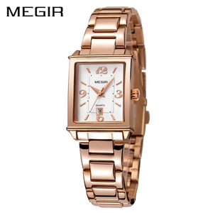 Ladies Stylish SS Rose Gold Bracelet Quartz Water Resistant Wristwatch - Free Shipping