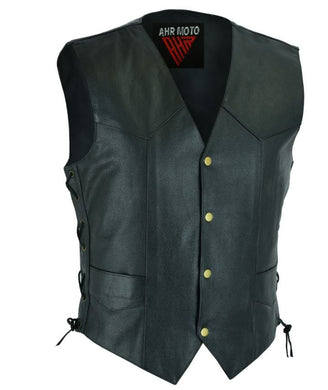 AHR01- Motorcycle Original Black Leather Fashion Vest