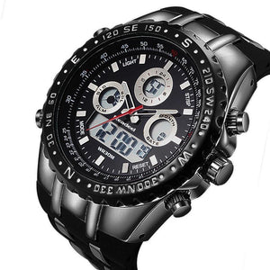 Men's Black Rubber Band Quartz Water Resistant Wristwatch