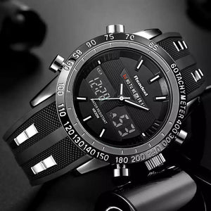 Men's Sports Black Rubber Band Quartz Wristwatch - Free Shipping