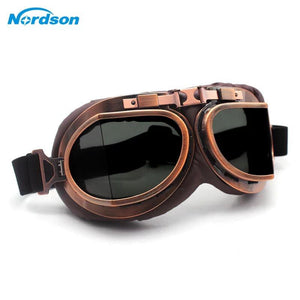 Vintage Brown Copper Foldable UV Protected Motorcycle Goggles - Free Shipping