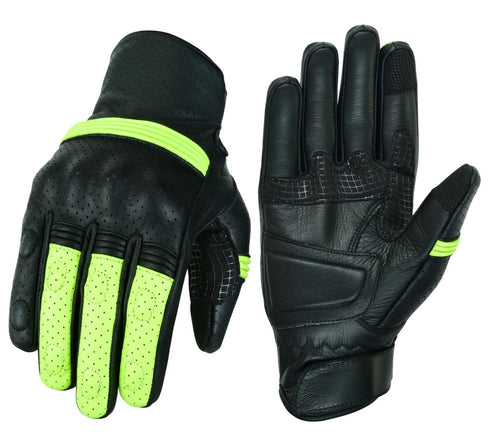 AHR21- Racer / Motorcycle Original Leather Vented Gloves With Protection