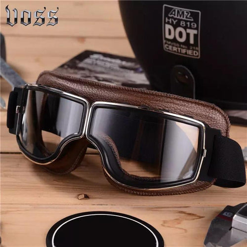 Retro Motorbike Motocross Horse Riding Brown Leather UV Protected Goggles - Free Shipping