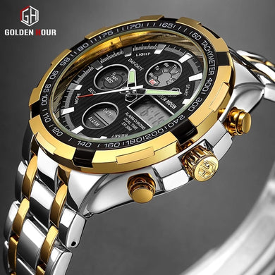 Men's Luxury SS Black Round Dial Quartz Waterproof Wristwatch - Free Shipping