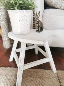 White shabby chic heart shaped wooden stool side table