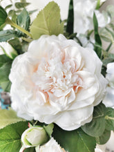 Load image into Gallery viewer, artifical large white garden rose stem spray