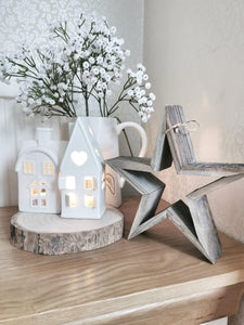 Wooden Chunky Freestanding Cut Out Rustic Star
