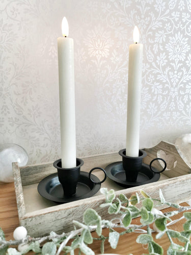 Luxury Collection Natural Glow Ivory LED Dinner Candles - Set of 2