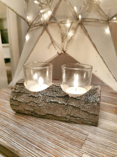 Snowy Glitter Rustic Log Double T-Light Holder