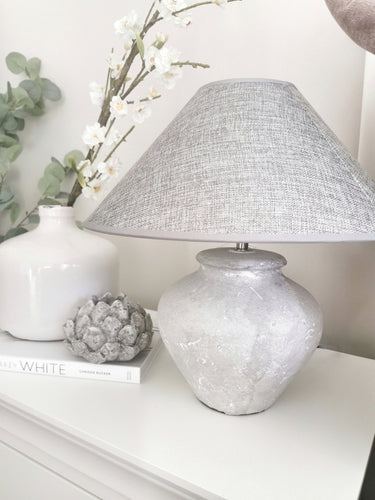 Coco Stone Lamp with Grey Shade