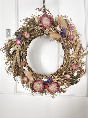 Purple and Deep Pinks Dried Floral Wreath