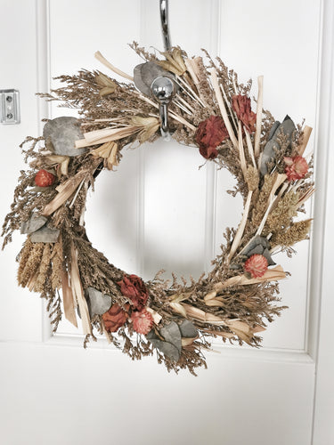Eucalyptus and burnt shades Dried Floral Wreath