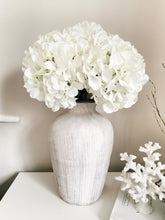 Load image into Gallery viewer, Giant Silk White Mophead Hydrangea Stem
