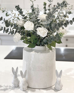 Willow White and Grey Detailed Ceramic Vase
